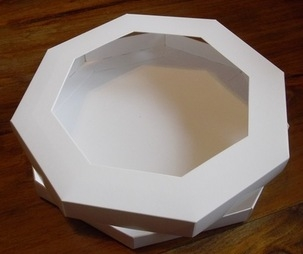 8 X 8 Octagon Aperture Greeting Card Box With Card Blanks