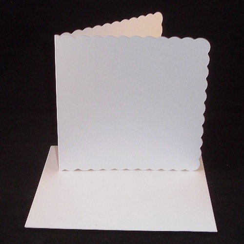 8 X 8 White Scalloped Greeting Card Blanks With Envelopes