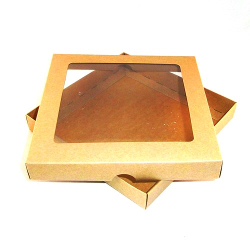 8x8 Brown Kraft Greeting Card Boxes With Aperture Lid