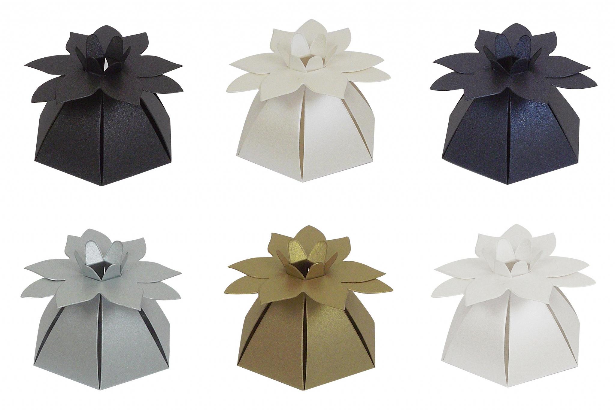 Pearlescent Flower Top Wedding Party Favour Boxes - Choose Colour ...
